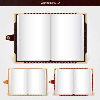 Vector set of open notepads with empty pages - Free vector #129370