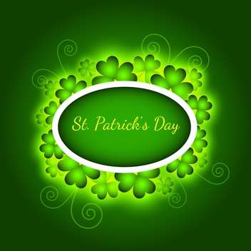 Vector green St Patricks day greeting card with frame and clover leaves - Free vector #129430