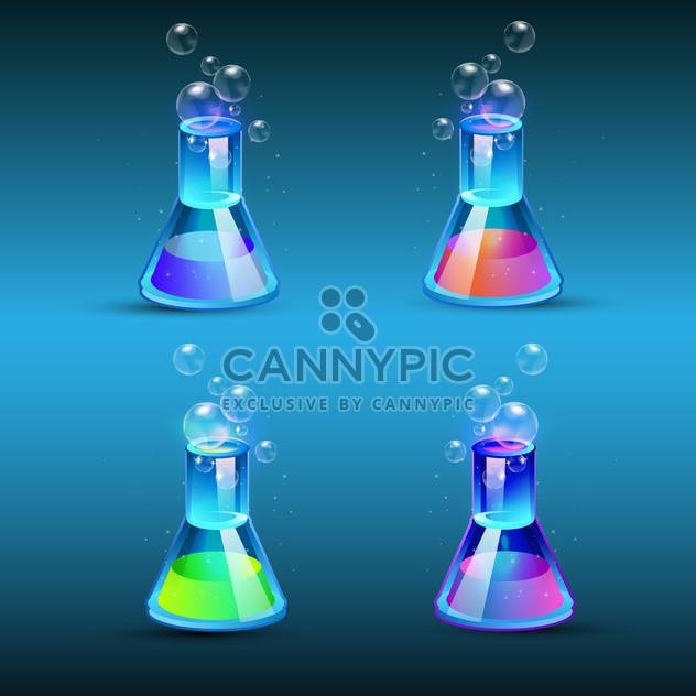 Vector set of glass flasks with colorful liquid on blue background - Free vector #129460