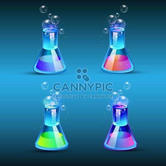 Vektor-set Glas-Fläschchen mit bunten Flüssigkeit auf blauem Hintergrund - Free vector #129460