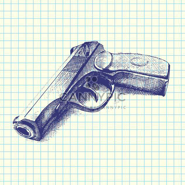 Vector illustration of hand drawn gun on chequered paper background - Free vector #129470