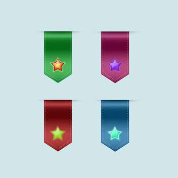 Vector set of colorful bookmarks with stars on blue background - Free vector #129520