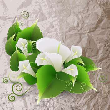 Vector illustration of white lily flowers on crumpled paper background - vector gratuit(e) #129530