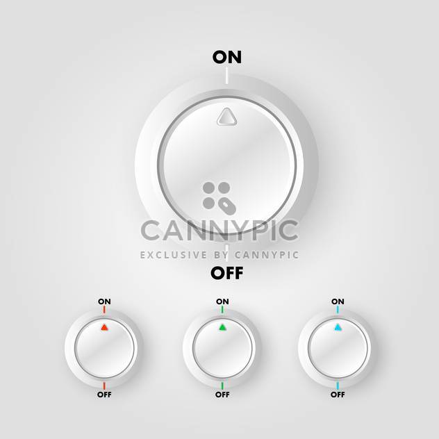Vector set of on and off buttons on gray background - Free vector #129540