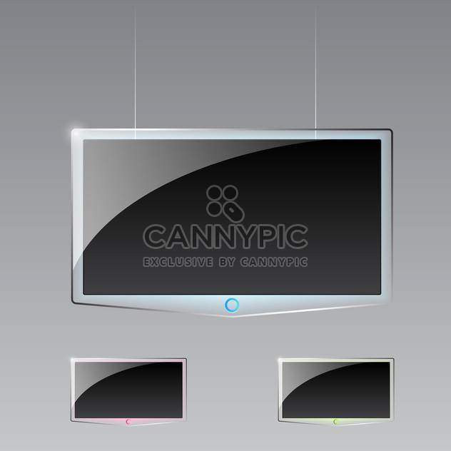 Vector illustration of three modern led Tvs on gray background - Free vector #129560