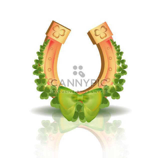Vector horseshoe and clover leaves with reflection on white background - Free vector #129580