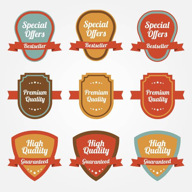 Vector collection of sale shields labels on white background - бесплатный vector #129630