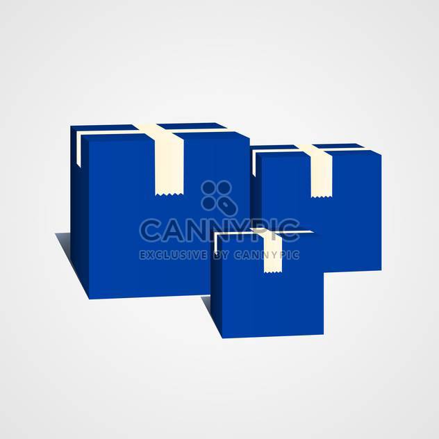 Vector illustration of closed blue boxes on gray background - Free vector #129650