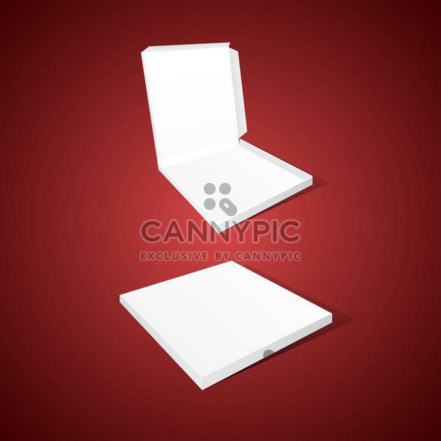 Vector illustration of white pizza boxes on red background - Free vector #129660