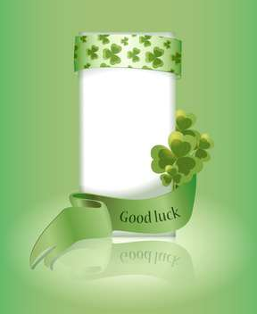 Vector green St Patricks day greeting card with clover leaves and Good Luck - бесплатный vector #129710