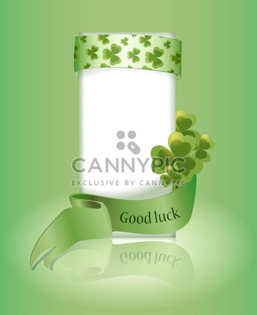 Vector green St Patricks day greeting card with clover leaves and Good Luck - Free vector #129710