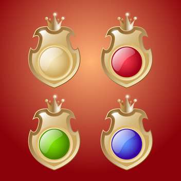 Vector set of shields with crowns buttons on red background - vector gratuit(e) #129770