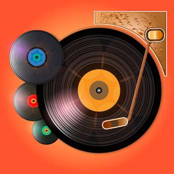 Vector illustration of vinyl records on red background - vector gratuit #129800