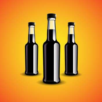 Vector illustration of three black bottles on orange background - vector gratuit #129840