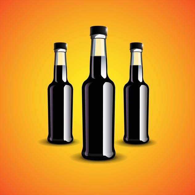 Vector illustration of three black bottles on orange background - Free vector #129840