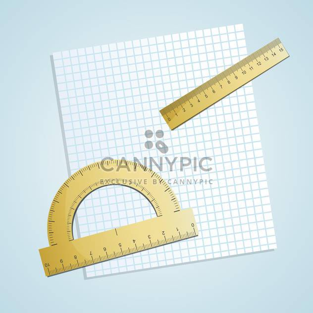 Vector illustration of chequered paper with rulers on blue background - Free vector #129860