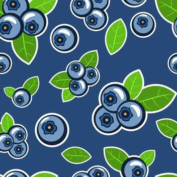 Vector blue seamless background with blueberries and leaves - vector gratuit #129870