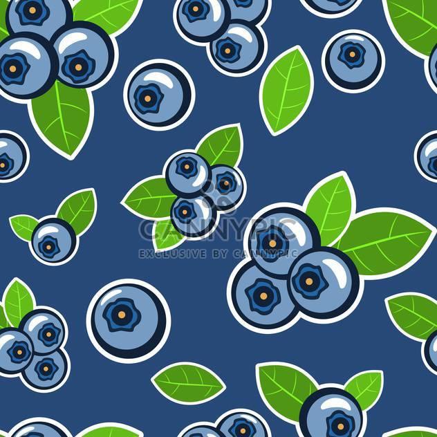 Nahtloser Vektor blauen Hintergrund mit Heidelbeeren und Blätter - Kostenloses vector #129870