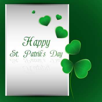 Vector green St Patricks day background with clover leaves - vector gratuit #129880