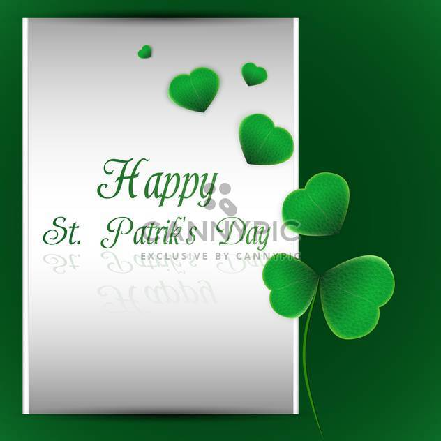 Vector green St Patricks day background with clover leaves - Free vector #129880