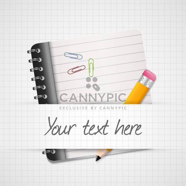 Vektor-Illustration der gelbe Bleistift und Notizblock mit Platz für Text auf karierten Hintergrund - Kostenloses vector #129890