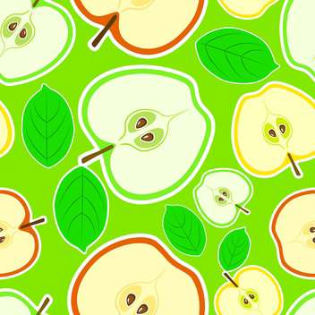 Vector green seamless background with apple halves and leaves - vector gratuit #129910