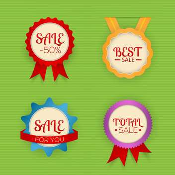 Vector set of colorful labels for sale on green background - vector #129930 gratis
