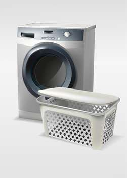 Vector illustration of washing machine with basket isolated - vector gratuit #129990