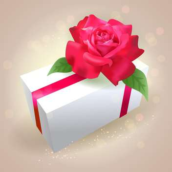 Gift box with red rose on shiny background - vector gratuit(e) #130000
