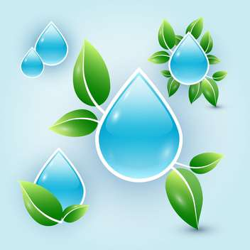 Eco drops of water with leaves on blue background - vector gratuit #130010