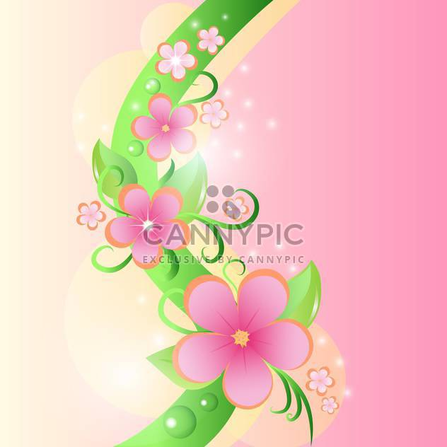 Spring colorful background with flowers and leaves - Free vector #130050