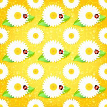 Vector background with chamomiles and ladybirds - Free vector #130070