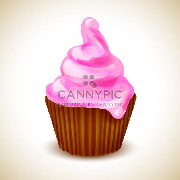 Vector illustration of birthday card with cupcake - Free vector #130200
