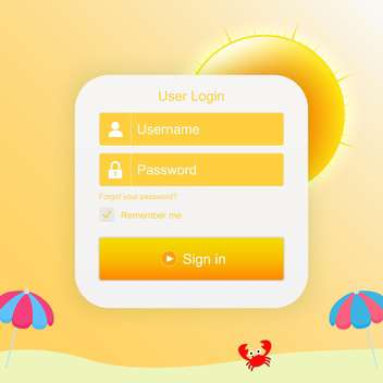 Vector login form with sunny background - бесплатный vector #130380
