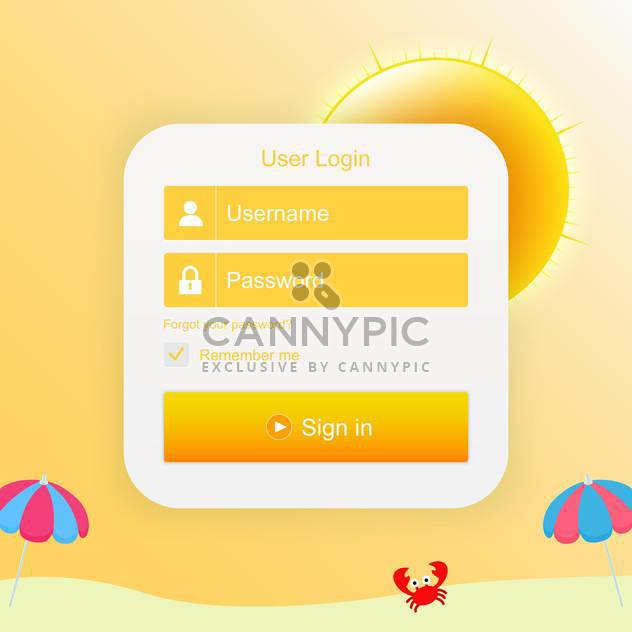 Vector login form with sunny background - Free vector #130380