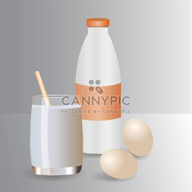 Milk products and eggs vector icons - Free vector #130390