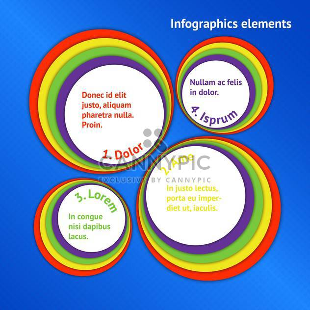 Vector colorful round frames on blue background. - Free vector #130540