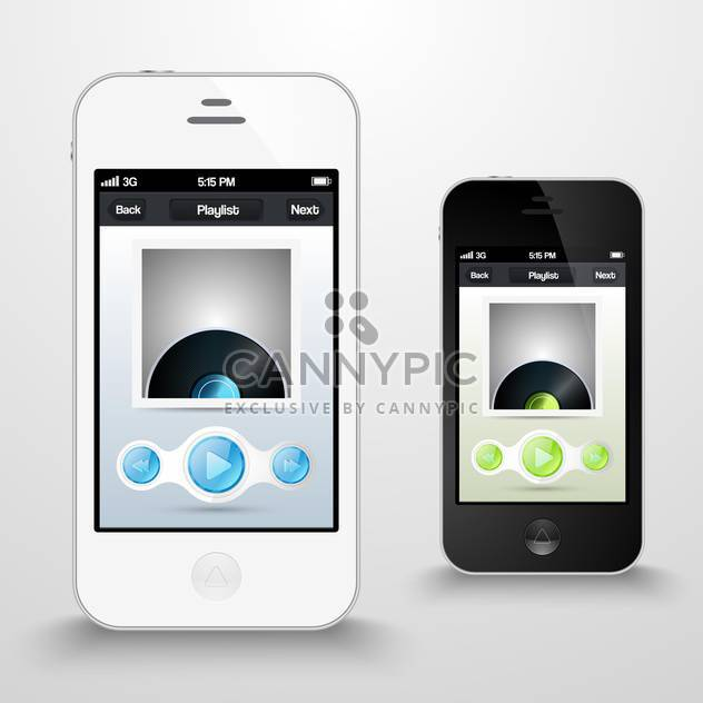 two smartphones with media player on screen - Free vector #130580
