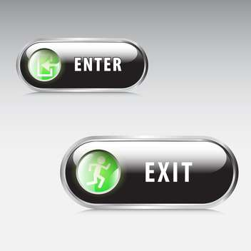 Enter and exit vector signs on grey background - бесплатный vector #130630