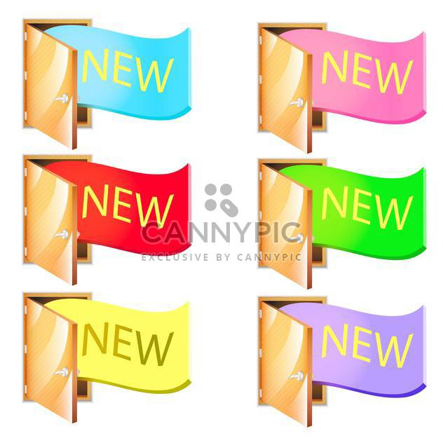 vector set of colorful ribbons with text new - Free vector #130650