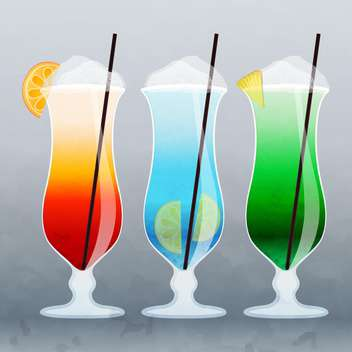 vector illustration of alcohol summer colorful cocktails on grey background - vector #130660 gratis