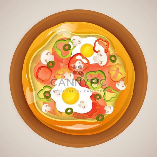 Vektor-Illustration der heißen Pizza auf grauen Hintergrund - Kostenloses vector #130670