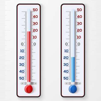 Red and blue thermometers on white background - vector gratuit #130810