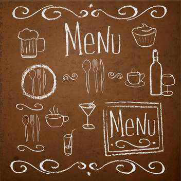 Chalk board with hand drawn vintage elements for menu - Free vector #130910