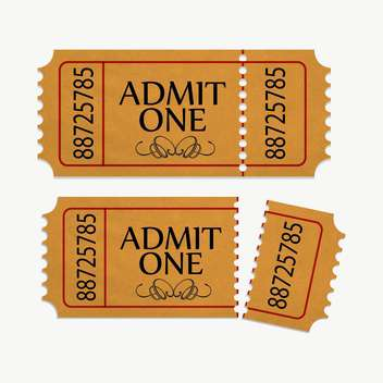 pair of yellow cinema tickets on white background - Free vector #130960
