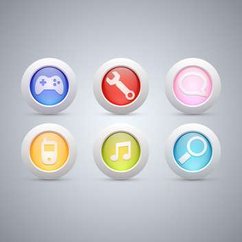 Different web buttons set on grey background - Free vector #130970