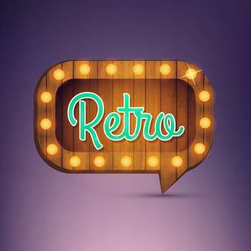Illustration of wooden sign with word retro and light bulbs surround - vector #131000 gratis