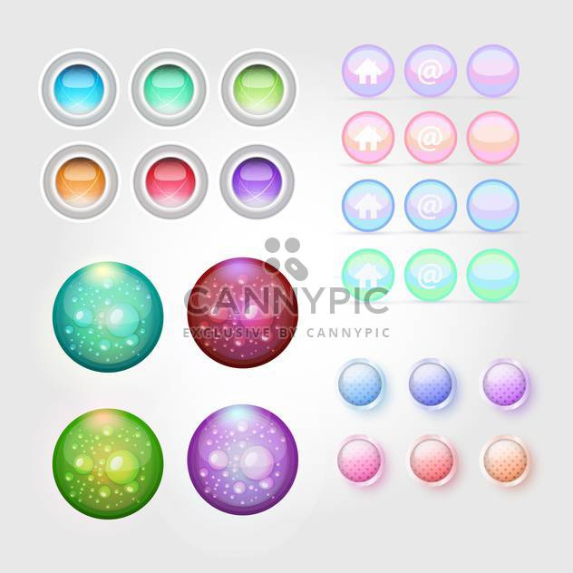 Web buttons icons set vector illustration. - Free vector #131110