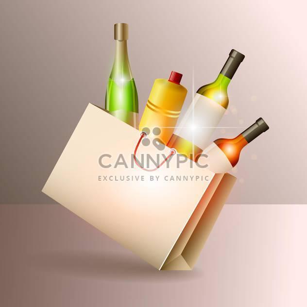 Weinflaschen in Geschenktüte Vektor-illustration - Kostenloses vector #131120