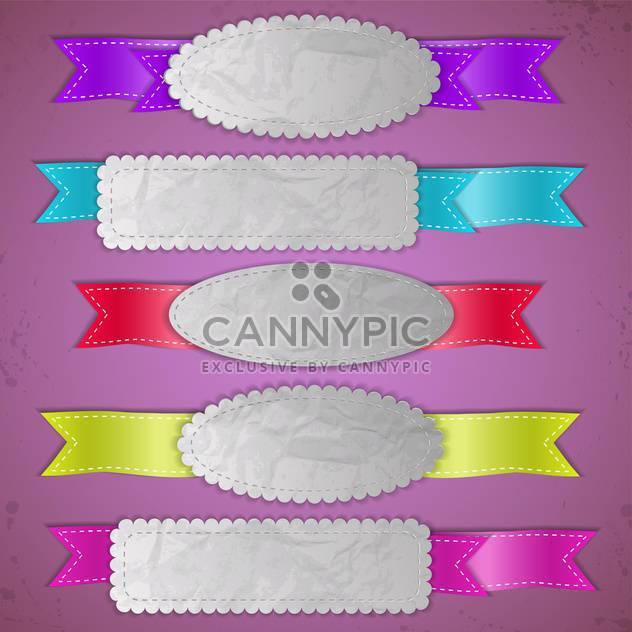 Set of vector ribbon banners on purple background - Free vector #131280